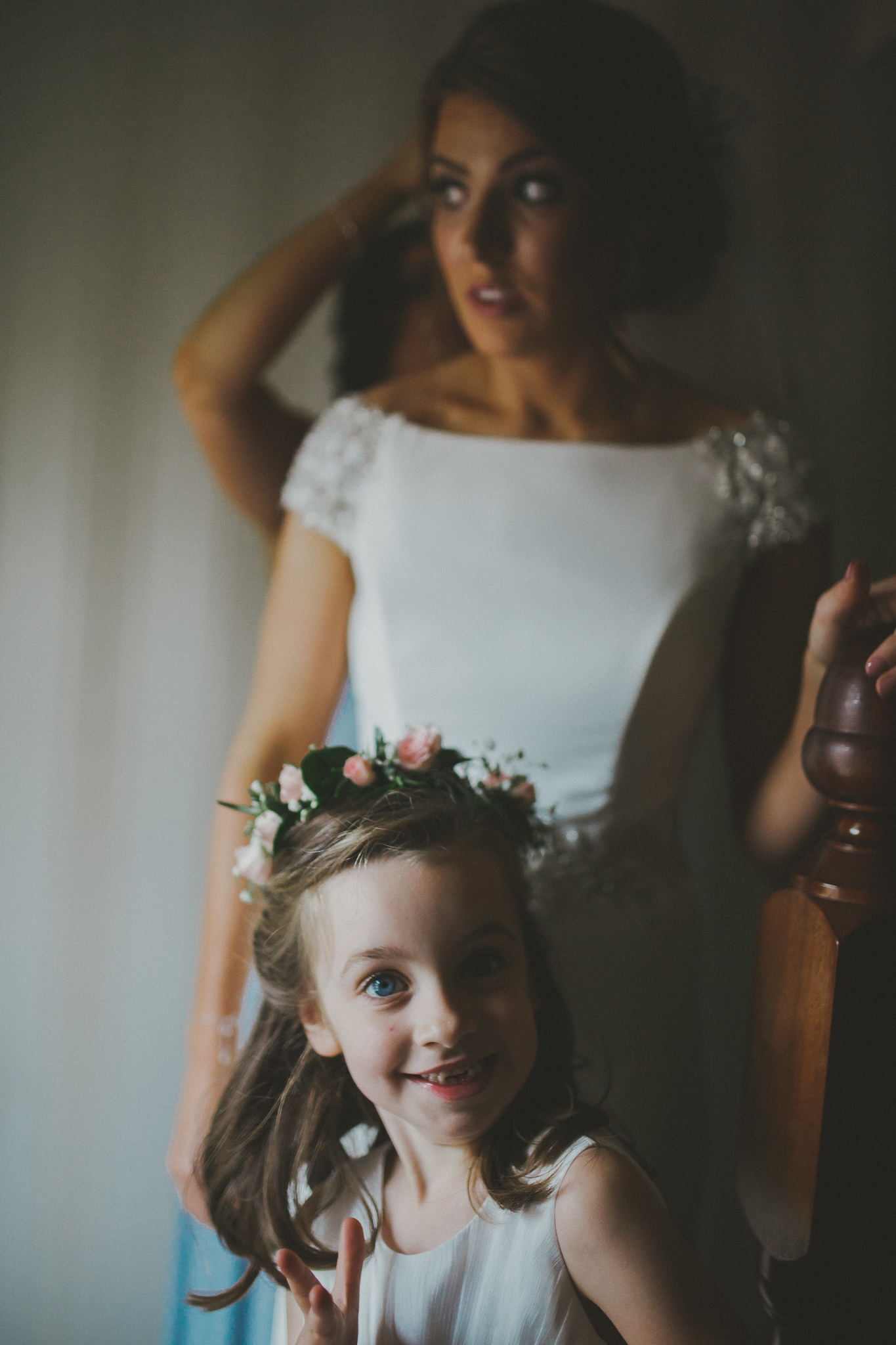 Fun Flowergirl for Larchfield Estate Wedding with Outdoor Ceremony